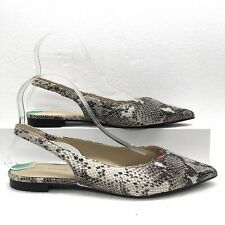 New Marc Fisher 8 M Snakeskin Printed Pointy Toe Slingback Flats Off White Black