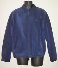 VTG Polo Ralph Lauren Blue Suede Leather Jacket Coat Mens M Throat Latch Flight