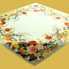 Tischdecke Mitteldecke 85x85 Rosen Früchte Herbst  Polyester Satin pflegeleicht