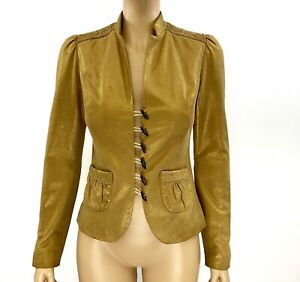 Beth Bowley Gold Metallic Hand Painted Leather Jacket Size 2 | S