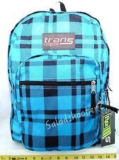 JanSport Trans School Student Backpack Blue Plaid New with Tags