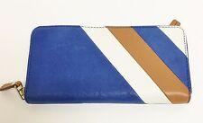 Fossil Gwen Sapphire Royal Blue White Brown Stripe Leather Zip Clutch Wallet