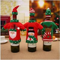Christmas Santa Claus Snowman Wine Bottle Bag Cover Xmas Dinner Party Decor QK