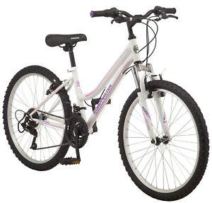 "Girl's 24"" Roadmaster Granite Peak 18-Speed Mountain Bike, White, Ages 8+"