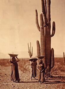 Vintage EDWARD CURTIS American Indian Women Cacti GOLDTONE Photo Engraving 11x14