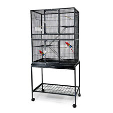Large Parrot Aviary Metal Bird Cage Small Pet Cage With Stand 160CM High BLK