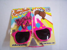 Birthday Girl Sun Staches Mask With Sunglasses And Mustache, Brand New