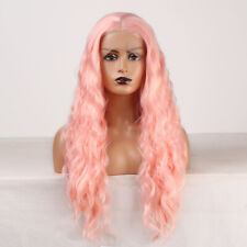 Pink Synthetic Lace Front Wig Long Natural Wave Wig Cosplay Party Wigs for Women
