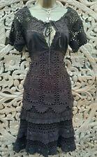 UK 10-12 Karen Millen 2-3 Vintage Chocolate Brown Crochet Top & Skirt Outfit