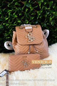 BNWT GUESS VIOLET Backpack & Wallet Set Shoulder Bag Satchel Purse Clutch Tan