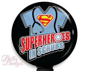 Superheroes in Scrubs Badge Reel ID Holder Nursing Clip Retractable Pull