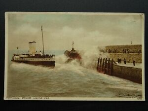 Wales PORTHCAWL Paddle Steamer Leaving Pier c1930s Postcard by Photochrom