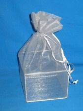"GIFT BAG-SHEER GRAY WITH  WIRE BASE -4""  X  6"""