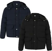 New Men Quilted Hooded Jacket Padded Bubble Puffer Puffa Warm Bomber Coat  S-2XL