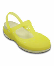 NEW Crocs Chartreuse & Stucco Carlie Flower Mary Jane Womens Size 8