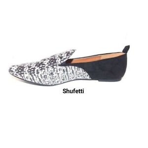 Shufetti Crystal Black Flat Shoes For Women Black Suede Back Faux Marble Front