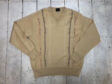 Gabicci Mens Jumper Sweater Pullover V Neck Sand Color Golf L / Large 50% Wool