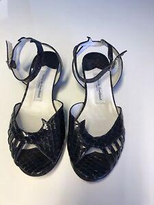 (S/C Newcastle) Terry De Havilland Black Patent Leather Sandals Ankle Fasten 4.5