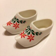 Vintage Bone China Dutch Miniature Clogs Shoes Chrysanthymum & Holly Holliday
