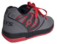 Heelys Skate Shoes Boys Size Youth 4 Lace Up Wheels Skating Gray/Red/Black