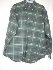 Ralph Lauren Plaid Size L 100% cotton Men's Green Black Yellow Long sleeve Shirt
