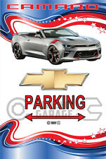 Parking Sign - Chevy Camaro Silver Convertible  American Stars and Stripes Look