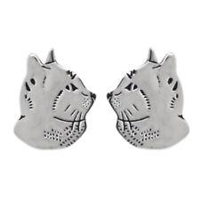 Katzen Ohrringe echt 925 Silber Stecker Damen rho Lasertechnik Katzenpfote Kater
