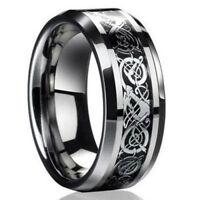 Fashion Silver Celtic Dragon Titanium Stainless Steel Men's Wedding Band Rings