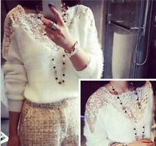 Sexy Women's Sweaters Lace Patchwork Mohair Loose Sweater Lady Pullover Tops LG