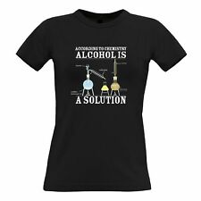 Nerd Womens TShirt According To Chemisty Alcohols A Solution Joke Funny Science
