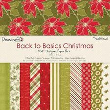 "12 Sheets Dovecraft 8 x 8"" Scrapbook Paper Back to Basics Christmas Traditional"