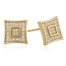 Hip Hop Stud Earring for Men and Women AAA+ CZ 18K Gold Silver Plated Earrings