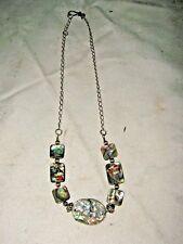 A Chain Strung Paua Abalone Shell Disc Necklace Choker