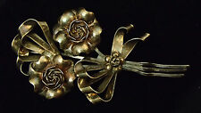 VTG Antique HOBE Sterling Silver 1/20 14K Gold Flower Rose Brooch Pin 48grams