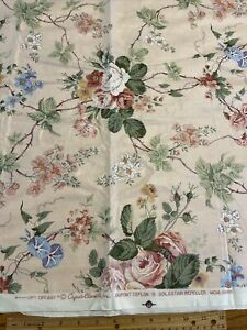 "Cyrus Clark ""Tiffany"" Chintz Floral Pink Polished Cotton Teflon Fabric 56""Lx 56"""