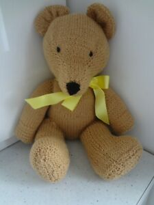 Hand Knitted Brown Teddy bear. - free p&p. New