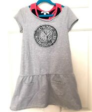 DKNY Girls Dress M Knit NYC Print Short Sleeve Attached Tank Gray Cotton Pockets