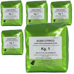 ACIDO CITRICO KG. 5 IN CONF. DA 1 - E330 - MONOIDRATO - PURO 100%