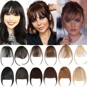 BLONDE Human Hair Thin Air Neat Wispy Bangs Clip In Remy Fringe Front Hairpieces