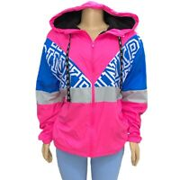 Victorias Secret PINK Sherpa Lined Campus Full Zip Colorblock Anorak Hoodie M/L