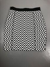 H&M Size 12 Black White Chevron Print Gold Exposed Zipper Paneled Lined Skirt