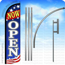 NOW OPEN - Windless Swooper Feather Flag 15' KIT Banner Sign - Patriotic bz
