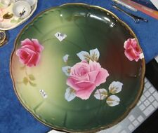 """Vintage Imperial Austria Princess Plate Pink Roses 13""""Signed by Artist Dupuy"""