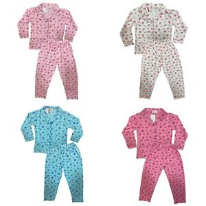 Girls Kids Pyjamas Long Sleeve Top Bottom Set Nightwear Jersey PJs Cotton Button