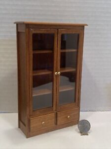 Vintage Artisan FRANKLYN J MOSLEY RARE Glass Bookcase Dollhouse Miniature 1:12