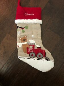 New Pottery Barn Kids Woodland Bear Train Red Beige Christmas Stocking *Charlie