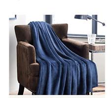 Flannel Fleece Luxury Blanket Blue Navy Throw Lightweight Cozy Plush Microfiber