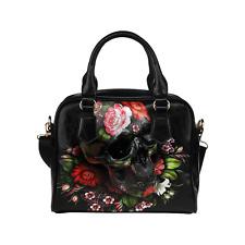 69ddc57bb0 Flowers Skull Art Classic Cross Body Shoulder Handbag Purse for Women And  Girls