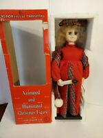 """Vintage Telco Motion-ettes of Christmas Display Figure GIRL Caroler 24"""" With Box"""