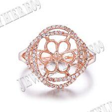 14k Rose Gold Semi Mount Round 10mm Diamonds Pearl Ring Setting Jewelry Wedding